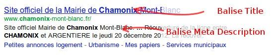 balise meta description et title dans Google