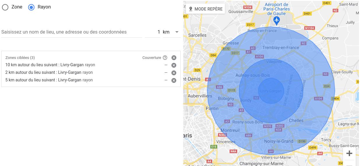 géolocalisation Google Ads